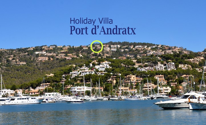 Puerto Andratx Villa view from port with logo smaller